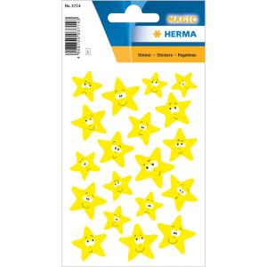 Herma 3714 MAGIC Sticker - Sterne - neongelb - 19 Sticker