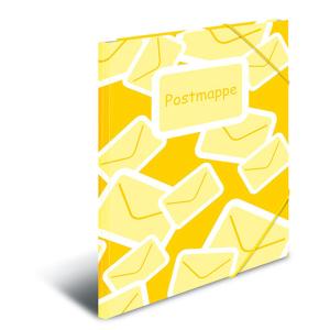 Herma 7129 Postmappe - DIN A4  - gelb- Eckspanner aus Gummi