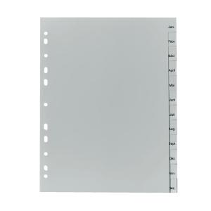 herlitz Register - DIN A4 - Jan bis Dez - PP - grau