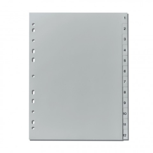 herlitz Register - DIN A4- 1 bis 12 - PP - grau