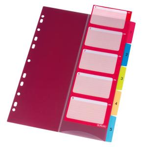 herlitz Register - DIN A4 - 1 bis 5 - PP - farbig