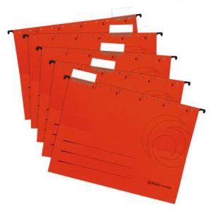 herlitz Hängemappe - DIN A4 - Kraftkarton - rot - 5...