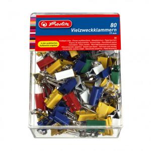 herlitz Foldbackklammer - 19 mm - farbig sortiert - 80er Box