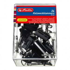 herlitz Foldbackklammer - 32 mm - schwarz - 24er Box