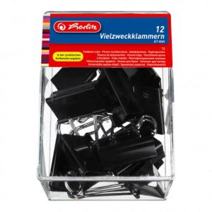 herlitz Foldbackklammer - 41 mm - schwarz - 12er Box
