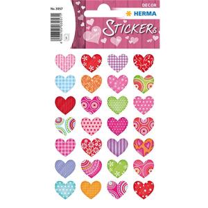 Herma 3057 DECOR Sticker - Bunte Herzen - 84 Sticker