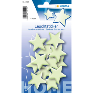 Herma 15019 Leuchtsticker - Sterne - Mini - 12 Stück