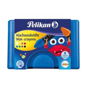 Pelikan Wachsmalstifte - blau - 8 Farben - mit Schaber
