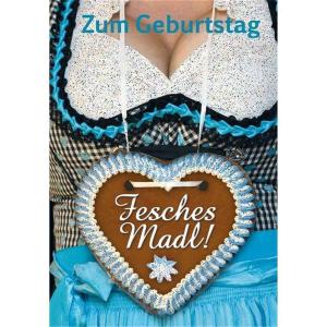Komma3 Glückwunschkarte Cocolori Frau im Dirndl mit...