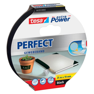 tesa extra Power Perfect Gewebeband - 25 m x 19 mm - schwarz