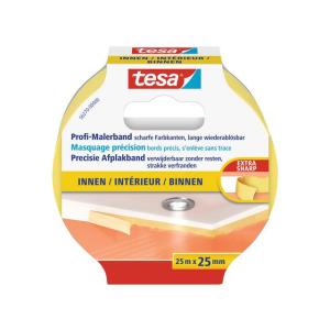tesa Profi-Malerband für Innen - 25 m x 25 mm - gelb