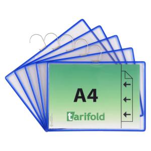 Tarifold Sichttafel mit Haken A4 blau 5St Querformat