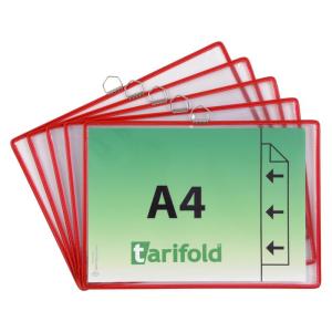 Tarifold Hängetafel - DIN A4 quer - rot - 5 Stück