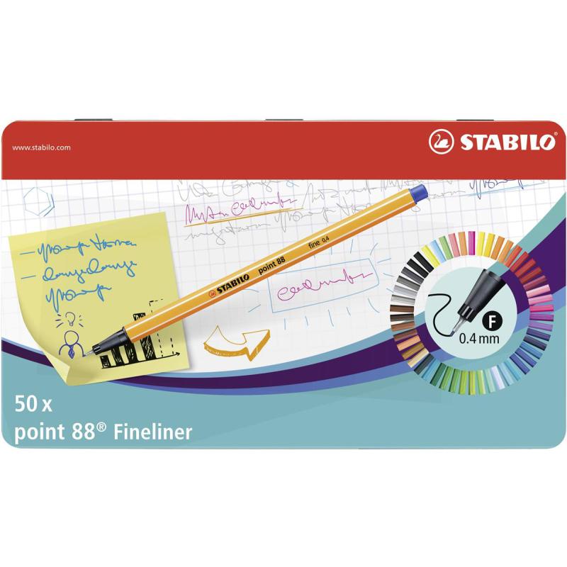 10 Stück Stabilo® Point 88® Fine 0,4 Feinliner Fasermaler hellblau