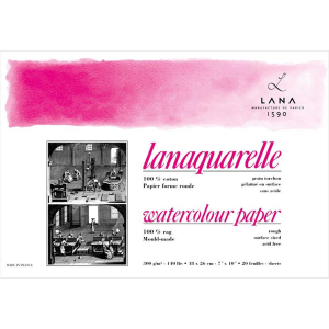 Lana Lanaquarelle Block - 300 g/m² - rau - 23 x 31...