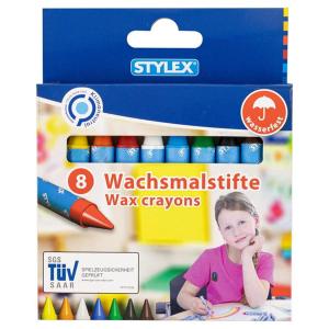Stylex Wachsmalstifte - mit Papierbanderole - 8 Stück
