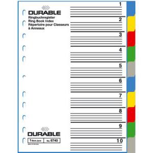 Durable Register blanko Kunststoff, 10 Blatt, A4 hoch