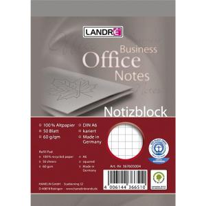 Landré Notizblock A6 Recycling 50Bl kar. Deckblatt