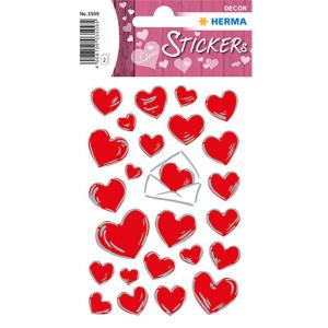 Herma 3509 DECOR Sticker - Herzen & Briefe - rot - 50...
