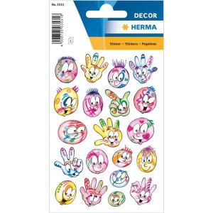 Herma 3531 DECOR Sticker - Bunte Gesichter - 60 Sticker