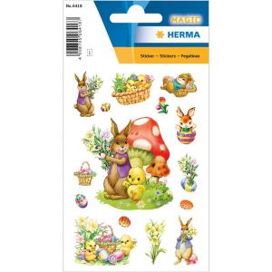 Herma 6418 MAGIC Sticker - Nostalgische Hasen - 15 Sticker