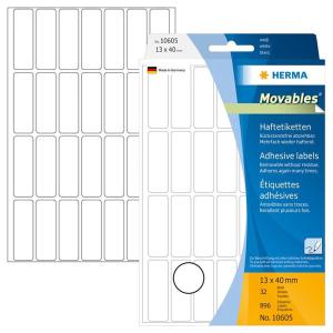 Herma 10605 Vielzwecketiketten - 13 x 40 mm - weiß...
