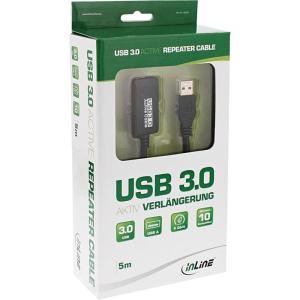 InLine USB 3.0 Aktiv-Verlängerung, Stecker A an...