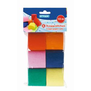 Stylex Krepppapier - 6 Rollen - farbig - à 10 m