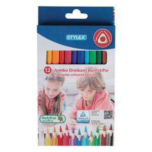 Stylex Jumbo Dreikantbuntstifte - 12 Stück