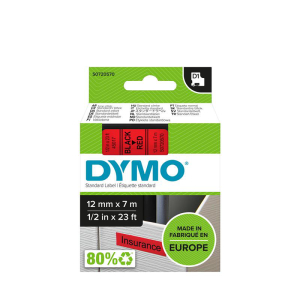Dymo D1-Schriftband - 12mm x 7m - black-rot