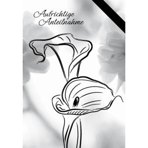 Komma3 Trauerkarte  filigrane Blume Aufrichtige Anteilnahme