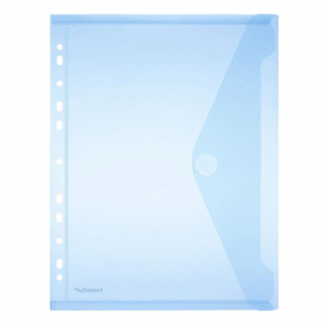 FolderSys Sichttasche PP A4 transp. blau Abheftrand