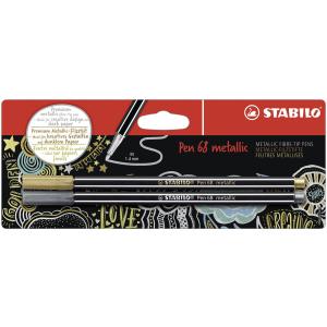 STABILO Pen 68 Filzstift - 1 mm - metallic gold + silber