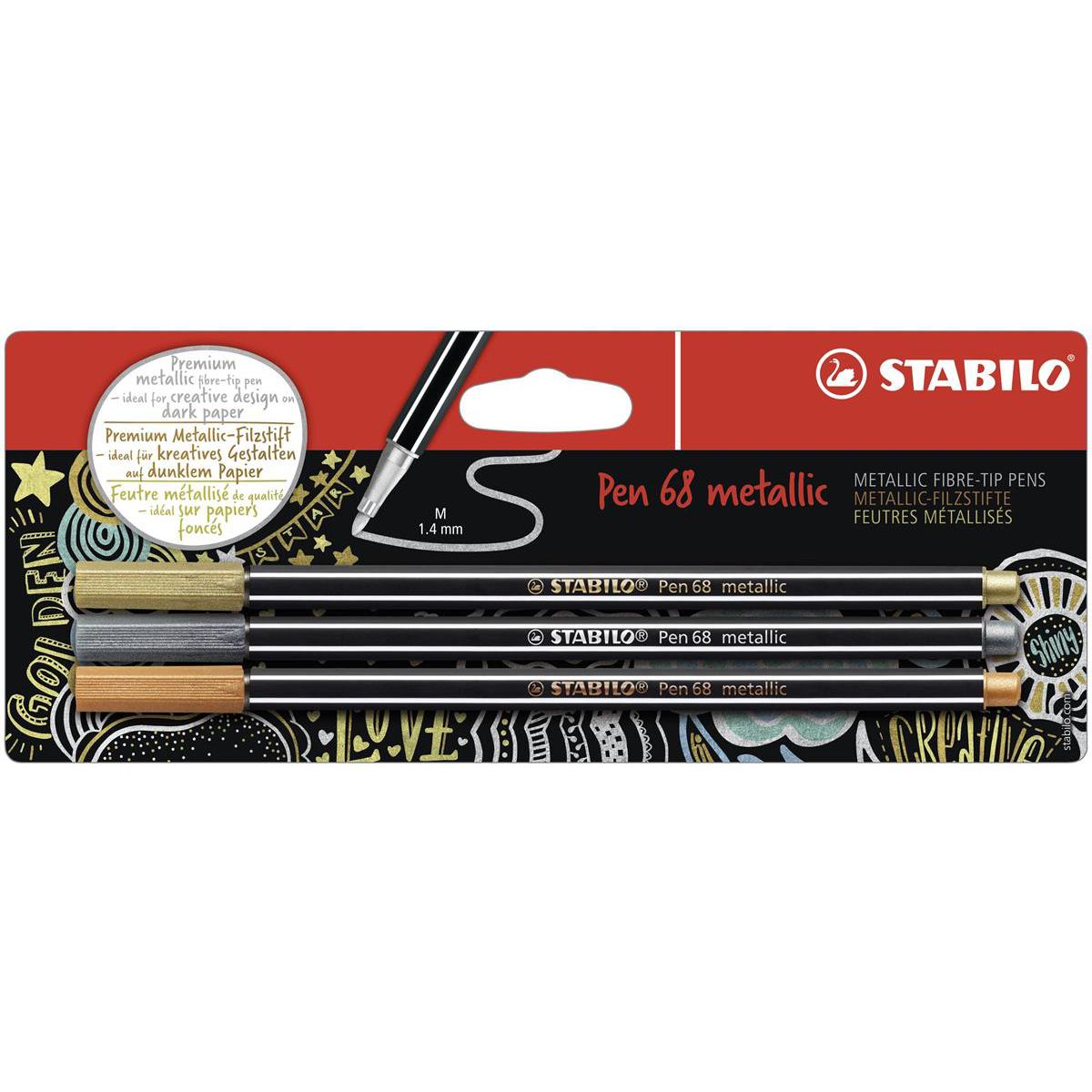 Premium-Filzstift STABILO Pen 68 metallic 2er Pack Silber Filzschreiber