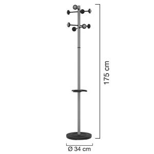Unilux Accueil Garderobenständer metallgrau, 175 cm...
