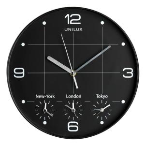 Unilux On Time Wanduhr, schwarz aus Kunststoff, 30 cm...