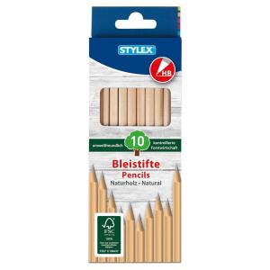 Stylex Bleistifte - HB - Naturholz - 10 Stück