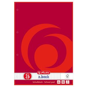 herlitz Schulblock - DIN A4 - kariert - Lineatur 26 - 50...