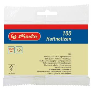 herlitz Haftnotizblock - 125 x 75 mm - 100 Blatt - hellgelb