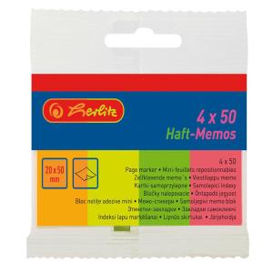 herlitz Haft-Memos - 20 x 50 mm - 4 x 50 Blatt - neon