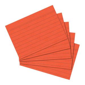 herlitz Karteikarten - DIN A5 - liniert - orange - 100...