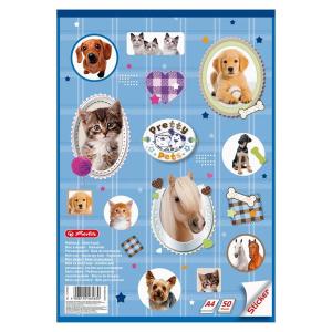 herlitz Malblock - Pretty Pets - DIN A4 - Sticker - 50 Blatt