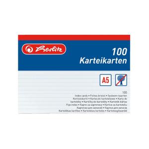 herlitz Karteikarten - DIN A5 - liniert weiß - 100...