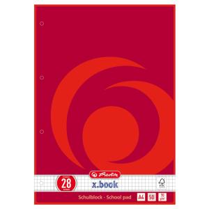 herlitz Schulblock - DIN A4 - kariert - Lineatur 28 - 50...