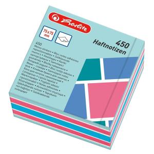 herlitz Haftnotizblock - 75 x 75 mm - 450 Blatt - farbig