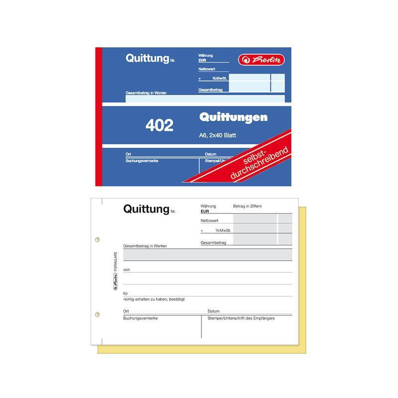 2x 40 Blatt A5 selbstdurchschreibend Herlitz Rechnungsbuch 305