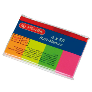 herlitz Haftmemos - 20 x 50 mm - 4 x 50 Blatt neon