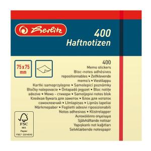 herlitz Haftnotizblock - 75 x 75 mm - 400 Blatt - hellgelb