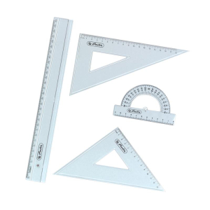 herlitz Geometrie-Set - 4 teilig - transparent