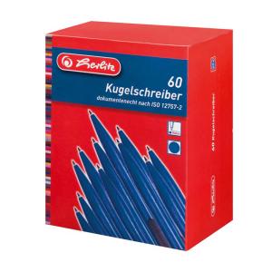 herlitz Kugelschreiber - 1 mm - opak blau - 60 Stück